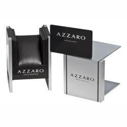 Azzaro Men's 'Seventies' Silver Dial Black Leather Strap Watch - Thumbnail 2