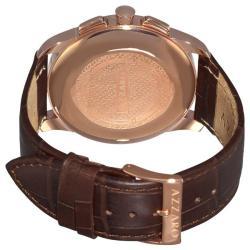 Azzaro Men's 'Legend Chrono' Brown Leather Strap Retrograde Watch - Thumbnail 1