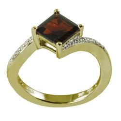 Gems For You 14k Yellow Gold over Silver Garnet Ring-Size 7
