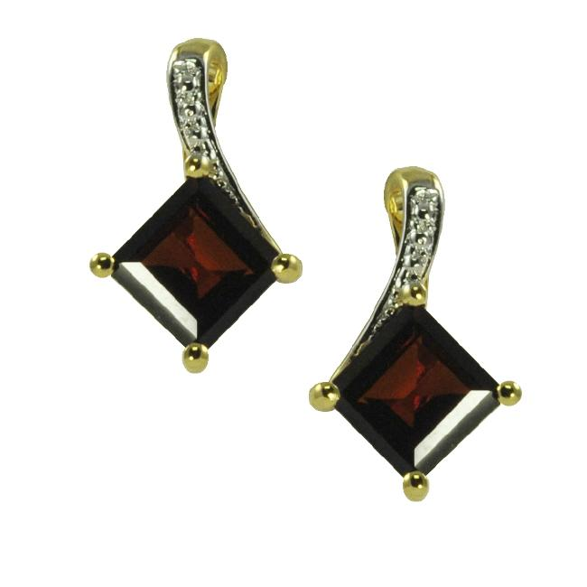 Gems For You 14k Gold Over Silver Square Cut Garnet Earrings