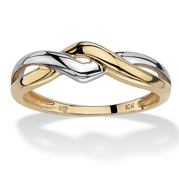 10k Two-Tone Gold Twist Ring Tailored