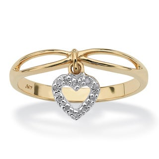 PalmBeach Diamond Accent 10k Yellow Gold Heart Charm Promise Ring