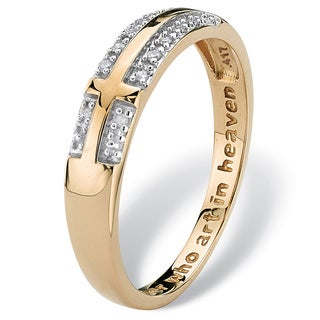 Diamond Accent 10k Yellow Gold Lord's Prayer Cross Ring