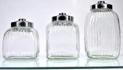 Square Glass Canisters (Pack of 3)