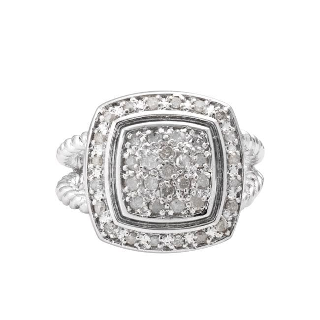 Sterling Silver 1/2ct TDW Diamond Square Halo Ring (J-K, I3) - Thumbnail 0