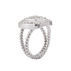 Sterling Silver 1/2ct TDW Diamond Square Halo Ring (J-K, I3) - Thumbnail 1