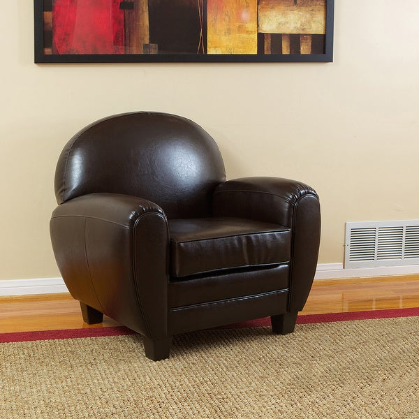 Oversized Cigar Brown Bonded Leather Club Chair by Christopher Knight Home