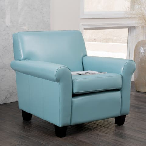 Yonkers Blue Leather Club Chair by Christopher Knight Home