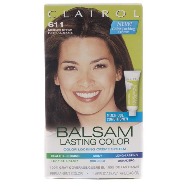Clairol Balsam Lasting Color #611 Medium Brown Hair Color (Pack of 4)