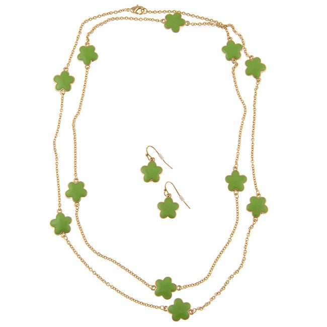 Goldtone Green Enamel Daisy Cable Necklace and Earring Set