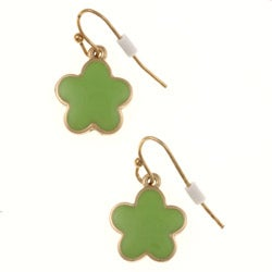 Goldtone Green Enamel Daisy Cable Necklace and Earring Set - Thumbnail 1