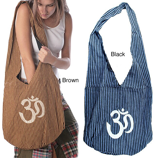 Cotton Heavy Stripe and Ohm Print Bag (Nepal)