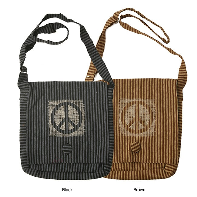Hand-crafted Striped Cotton Peace-sign Messenger-style Bag (Nepal)