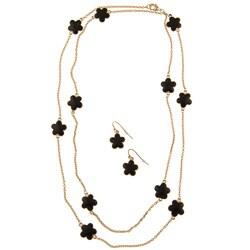 Goldtone Black Enamel Daisy Necklace and Earring Set