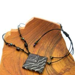 Cotton Cord and Black Fused Glass Rhombus Wave Necklace (Chile) - Thumbnail 1