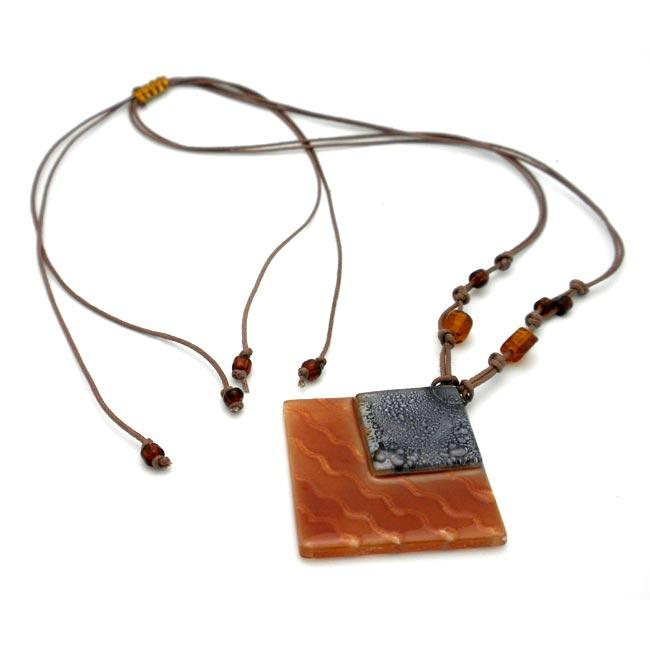 Cotton Cord and Earthtone Fused Glass Rhombus Wave Necklace (Chile)