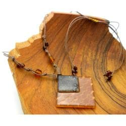 Cotton Cord and Earthtone Fused Glass Rhombus Wave Necklace (Chile) - Thumbnail 1