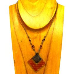 Cotton Cord and Earthtone Fused Glass Rhombus Wave Necklace (Chile) - Thumbnail 2