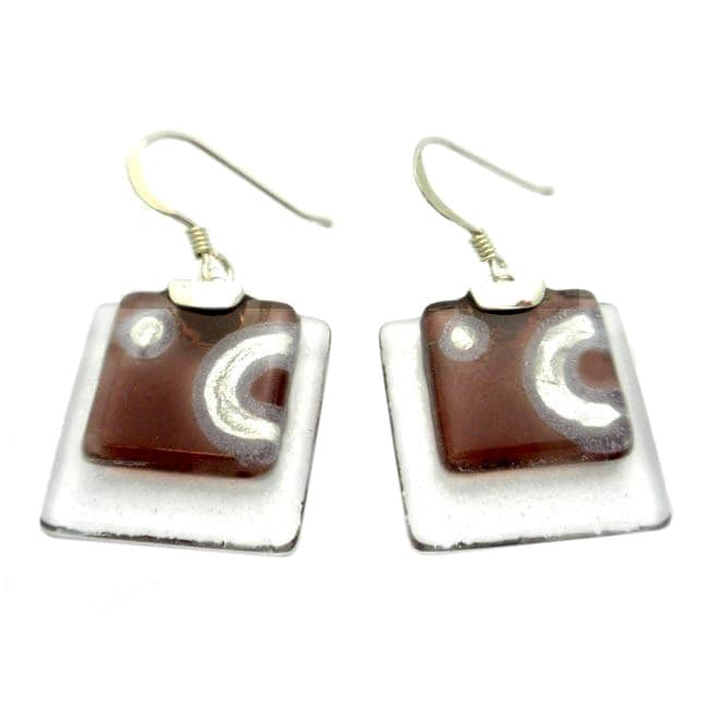 Silver Ethereal Silver and Mauve Glass Stacked Squares Earrings (Chile)