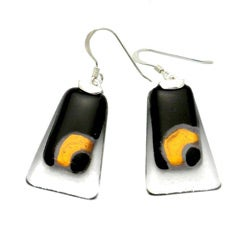 Silver Ethereal Black/ Copper Trapezoid Glass Squares Earrings (Chile)