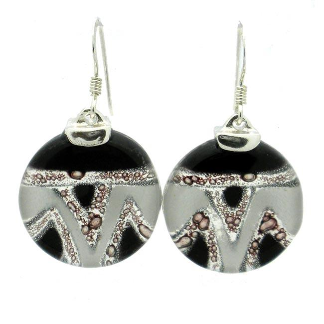 Sterling Silver Aztec Round Fused Glass Earrings (Chile)