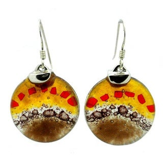 Handmade Sterling Silver Earth Dawning Round Fused Glass Earrings (Chile)