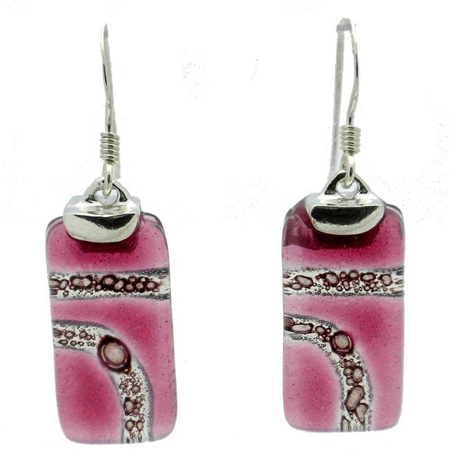 Sterling Silver Strawberry Highway Glass Rectangle Earrings (Chile)