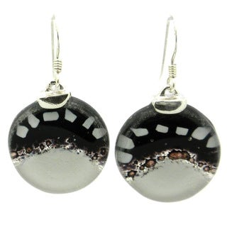 Handmade Sterling Silver White to Black Fused Glass Earrings (Chile)