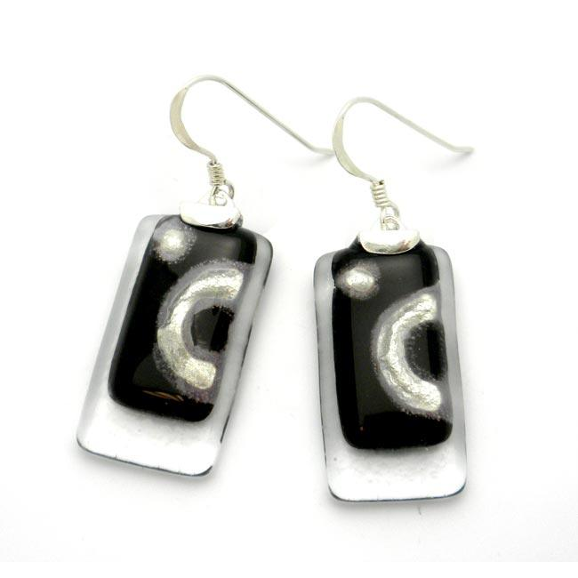 Silver Ethereal Black and Silver Stacked Rectangles Earrings (Chile)