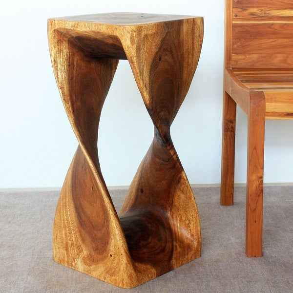 12 Inches Square x 26-inch Monkey Pod Wood Twist Walnut Oil End Table (Thailand)