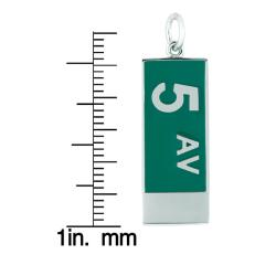 Sterling Silver and Green Enamel 5th Avenue Charm