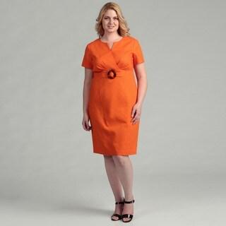 Jessica Howard Women's Plus Size Orange Belted Short-sleeve Dress