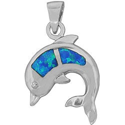 Silver Created Opal Dolphin Pendant
