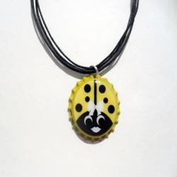 Turquoise and Yellow Ladybug Bottle Cap Necklace - Thumbnail 1