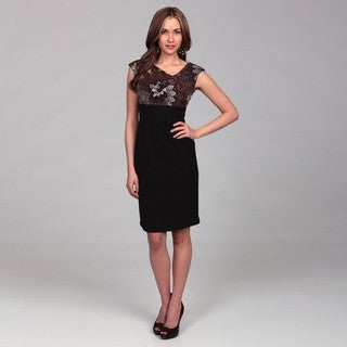 London Times Women's Ruched Bodice Empire Dress