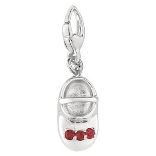Sterling Silver Ruby 3-stone Baby Shoe Charm