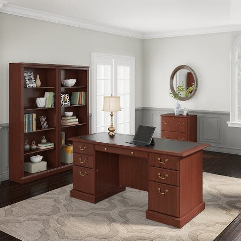 Copper Grove Dobrich Executive Desk, Lateral File Cabinet and Two 5-shelf Bookcases in Cherry