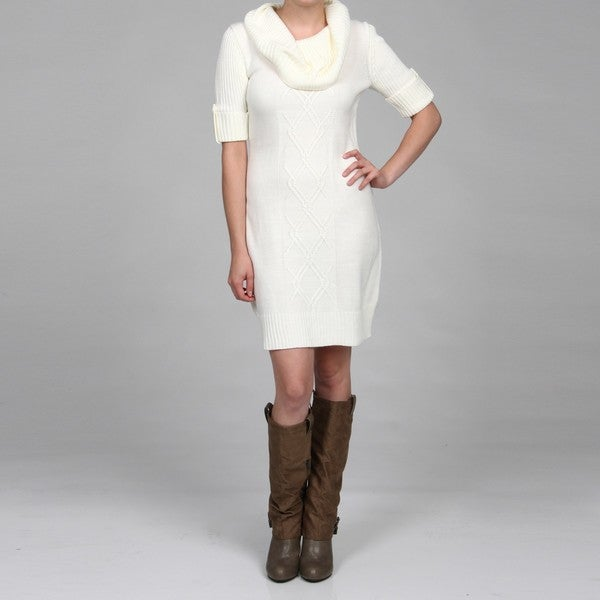 London Times Women&39s White Turtle Neck Sweater Dress FINAL SALE ...
