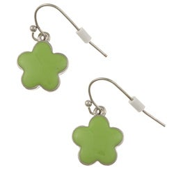 Silvertone Green Enamel 16-inch Daisy Necklace and Earring Set - Thumbnail 1