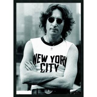 'John Lennon - NYC' 25 x 37-inch Framed Art Print with Gel Coated Finish