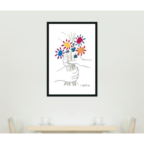 Framed Art Print Hands with Bouquet (Fleurs et Mains) by Pablo Picasso 26 x 38-inch