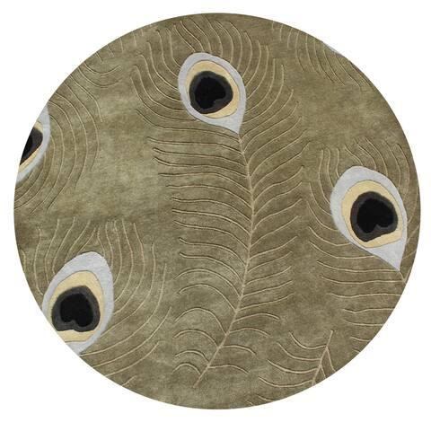 Alliyah Handmade Sage Green Peacock Wool Rug - 6' x 6'