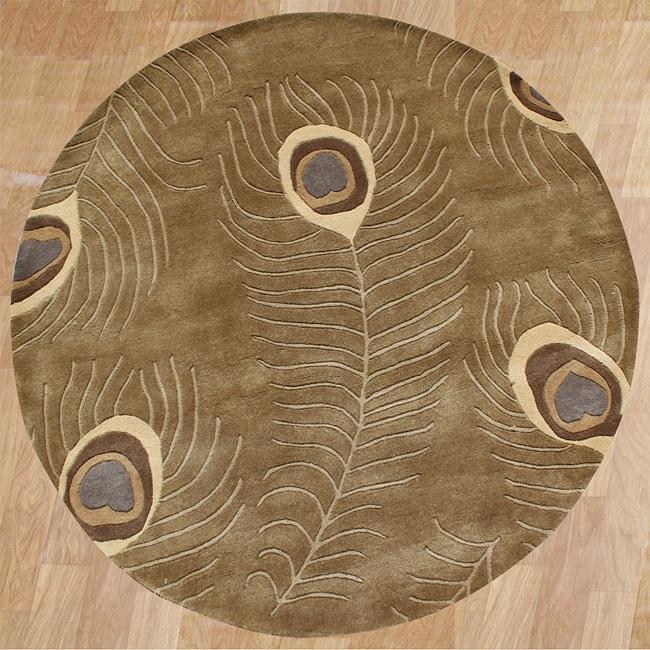 Alliyah Handmade Brown Peacock Wool Rug (6' Round)