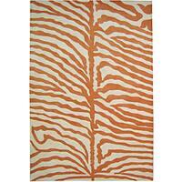 Alliyah Handmade Tufted Off-white, Orange Animal Print New Zealand Blend Wool Rug - 4' x 6'