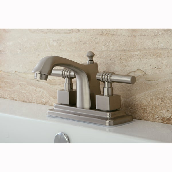 Satin Nickel Centerset Bathroom Two-Lever Faucet