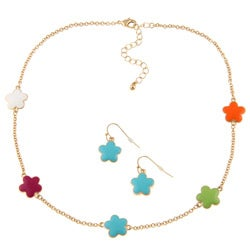 Goldtone Multi-color Enamel 16-inch Daisy Necklace and Earring Set