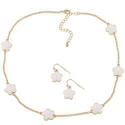 Goldtone White Enamel Daisy Necklace and Earring Set
