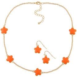 Goldtone Orange Enamel Daisy Necklace and Earring Set