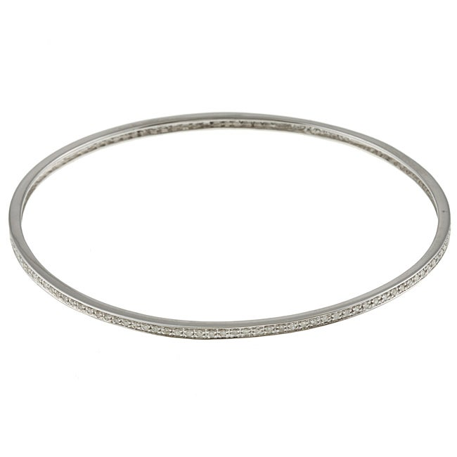 ada345949 Shop Victoria Kay Sterling Silver 3/4ct TDW Diamond Stackable Bangle  Bracelet - Free Shipping Today - Overstock - 5870733