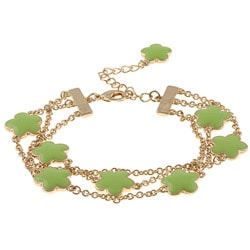 Goldtone Green Enamel 3-strand Bracelet